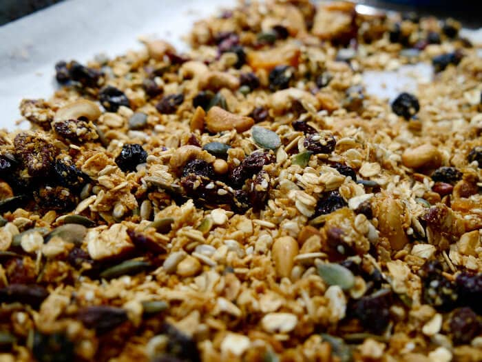 closeup of granola sugar free desserts on sheet pan