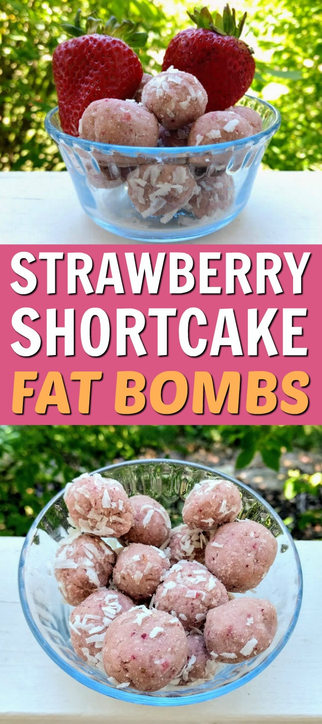 These Strawberry Shortcake Fat Bombs are an awesome keto dessert or keto snack. You'll love this fat bombs recipe! #fatbombs #fatbomb #keto #ketogenic #ketodiet #ketorecipes