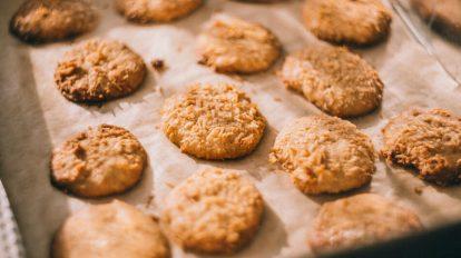 keto cookies on a large baking sheet