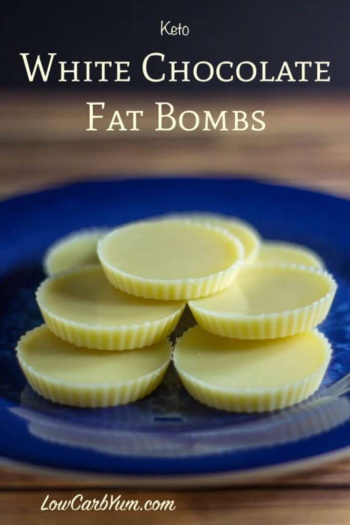 white chocolate fat bombs on a blue plate