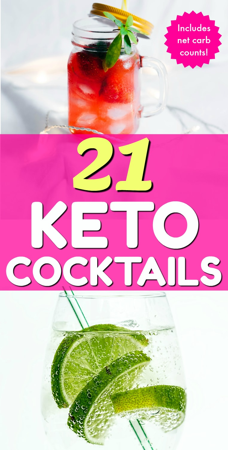 Umm, cocktails on the keto diet? Heck yeah!! This post includes 21 AMAZING keto cocktails that taste incredible without the carbs! This post includes such a huge selection of keto recipes. Wait until you see number 9! #keto #ketogenic #ketodiet #ketorecipes #ketococktails #lowcarbcocktails