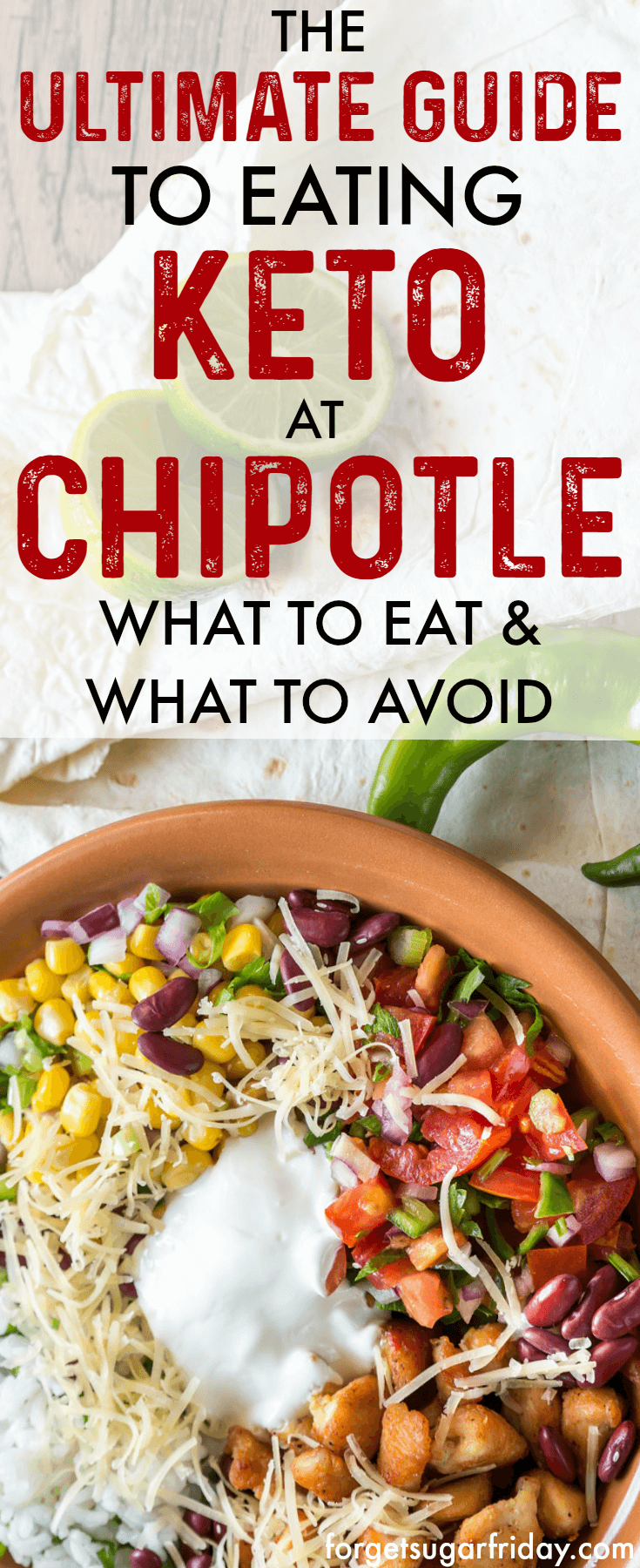 If you love Chipotle, you NEED this post!! The Ultimate Keto Chipotle Guide lays out exactly what to order at Chipotle if you're on the keto diet as well as foods to avoid. Plus: The Ultimate Chipotle Keto Fat Bomb Bowl! #keto #ketodiet #ketogenic #ketogenicdiet #chipotle