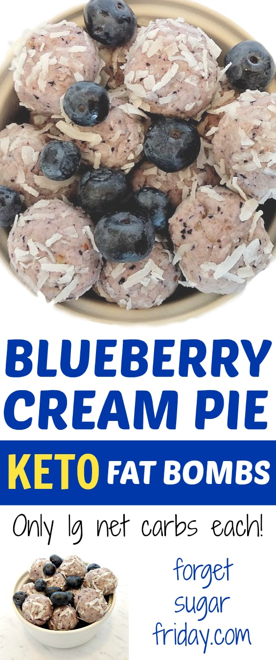 KETO Blueberry Cream Pie Fat Bombs!! These keto fat bombs taste like blueberry cream pie and have only 1g net carbs each. You will seriously LOVE this easy keto recipe! #ketofatbombs #fatbombs #fatbombrecipe #keto
