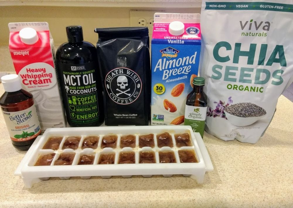 keto coffee smoothie ingredients on a countertop