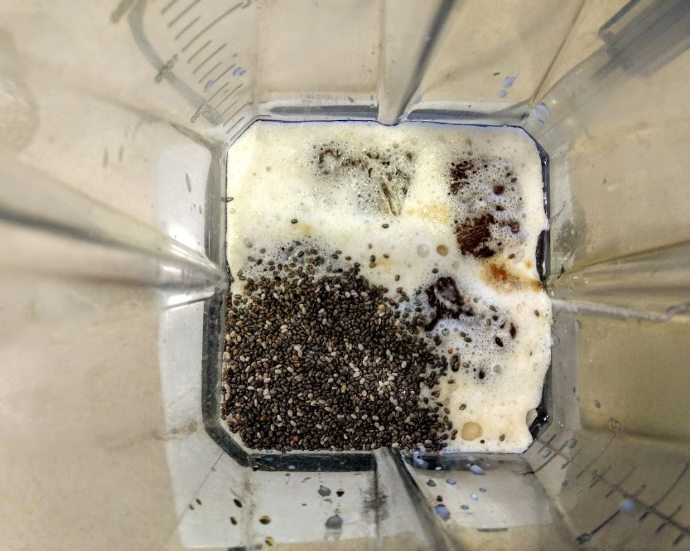 keto coffee smoothie ingredients inside a vitamix blender