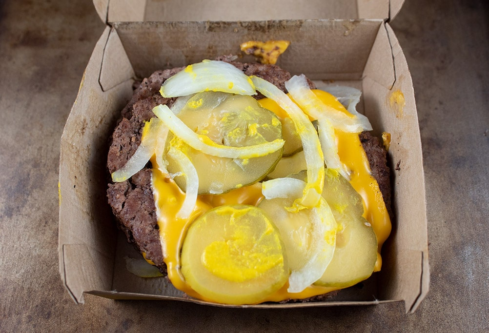 keto mcdonald's quarter pounder with cheese in a mcdonald's box