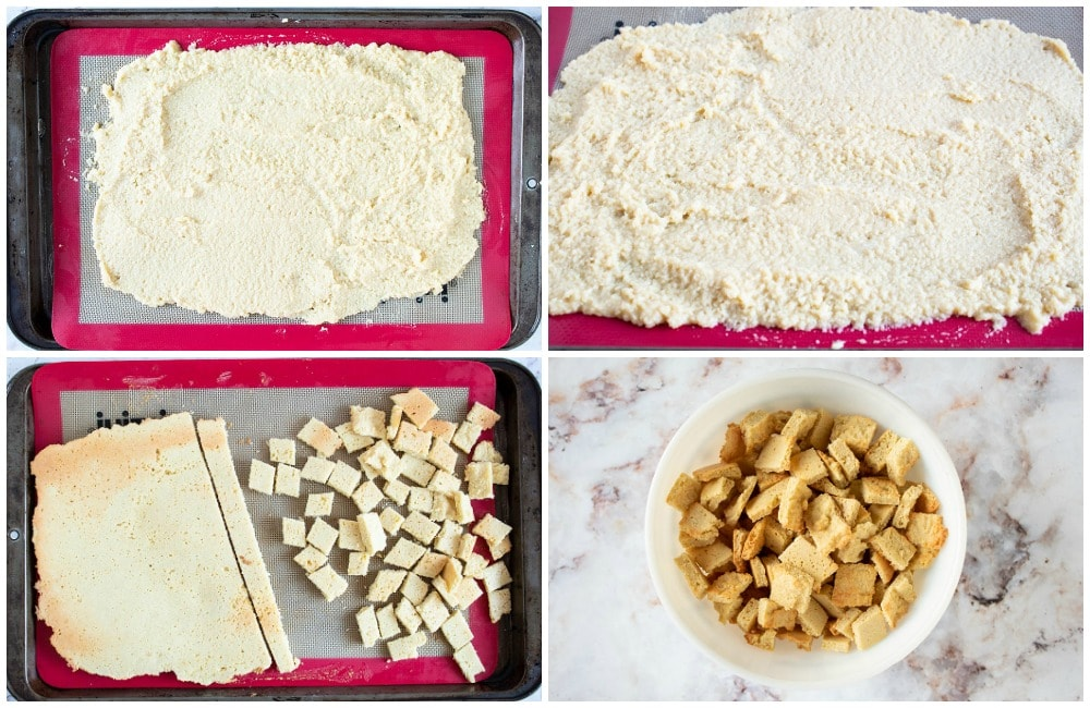 keto puppy chow collage of cereal creation steps