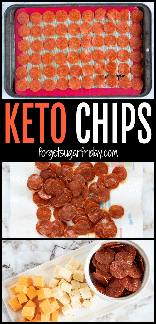 You will LOVE these Keto Pepperoni Chips (aka keto chips)! They're the ultimate easy keto snack recipe. They're a crunchy keto recipe that will definitely remind you of pizza, especially when served with cheese a side of cheese. A perfect keto party recipe! #keto #ketogenic #ketorecipe #ketosnack #lchf