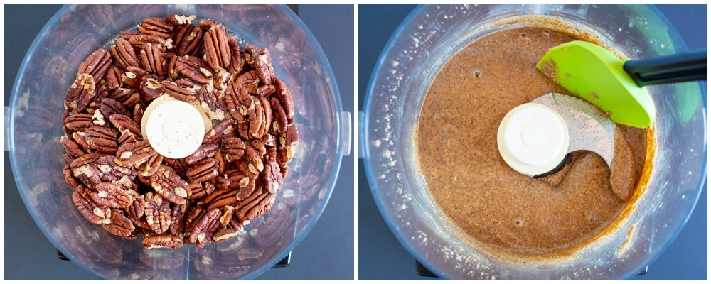 pecan butter in food processor toasted pecans to butter