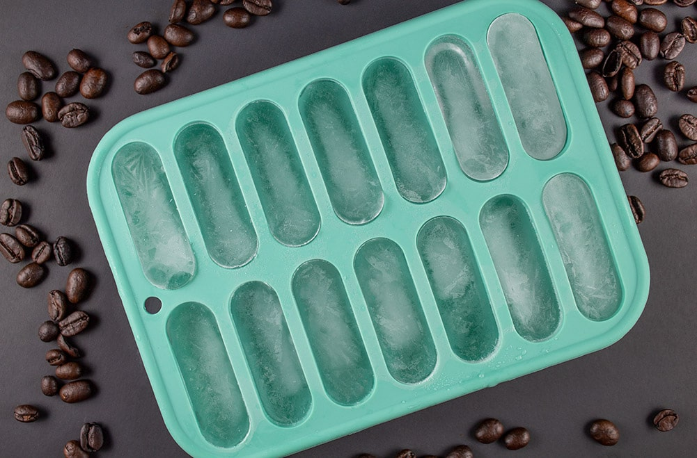 overhead view of blue ice cube tray to be used in keto iced coffee