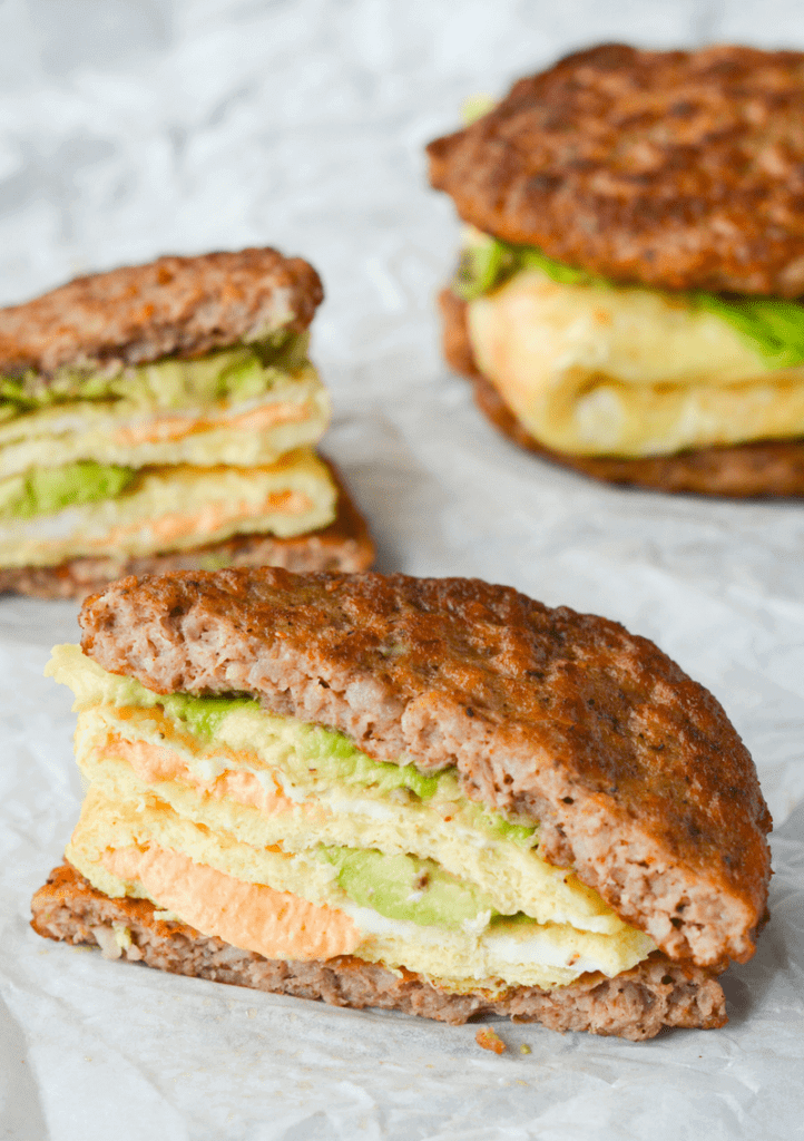 keto breakfast sandwich with cheese and avocado inside