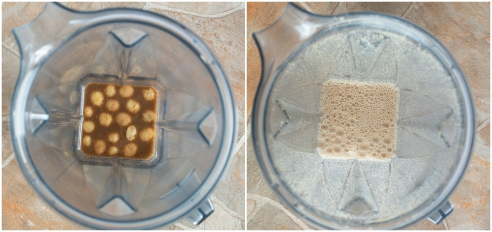 overhead view of before and after of macadamia nut fat bomb coffee inside a vitamix