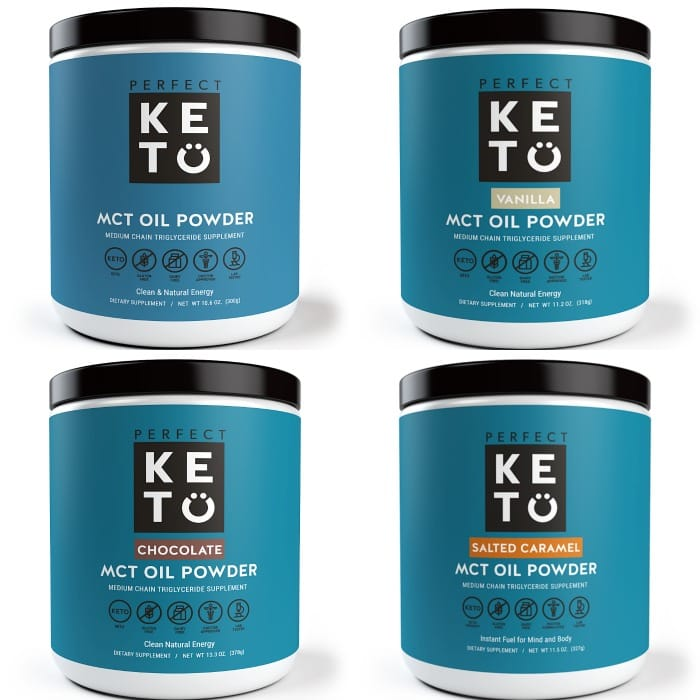 collage of four mct oil powder containers from perfect keto with blue labeling