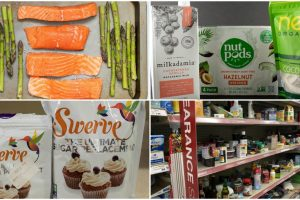 keto on a budget collage of keto budget items including a clearance aisle and discount swerve