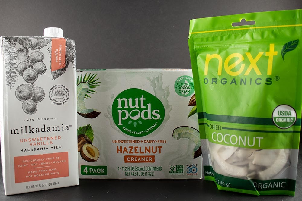 keto on a budget at homegoods items including macadamia nut milk, nutpods and coconut strips