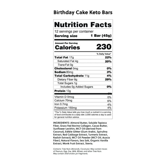 birthday cake nutrition facts panel from box
