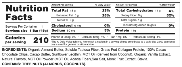 perfect keto bars review chocolate chip cookie dough full nutrition label