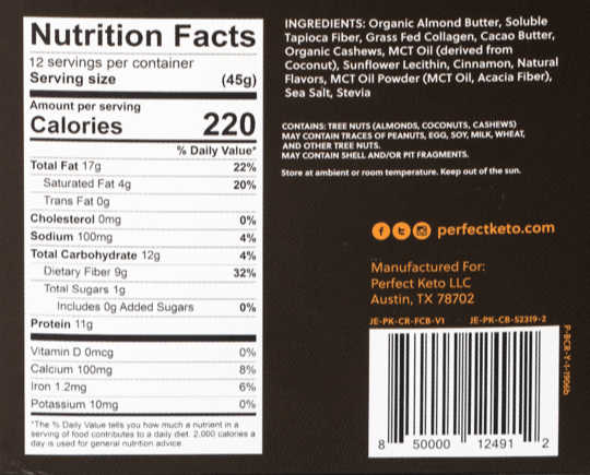 back panel of cinnamon roll bars showing nutrition
