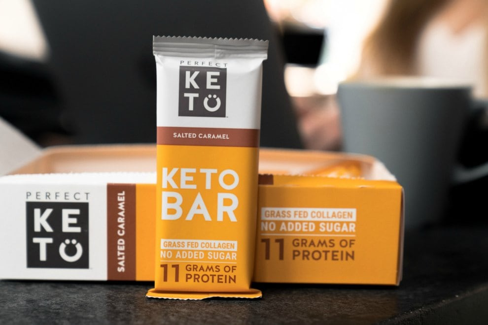 box showing perfect keto bars review salted caramel bar by box