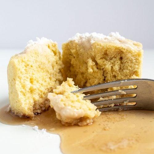 keto pancake mug cake cut in half by fork