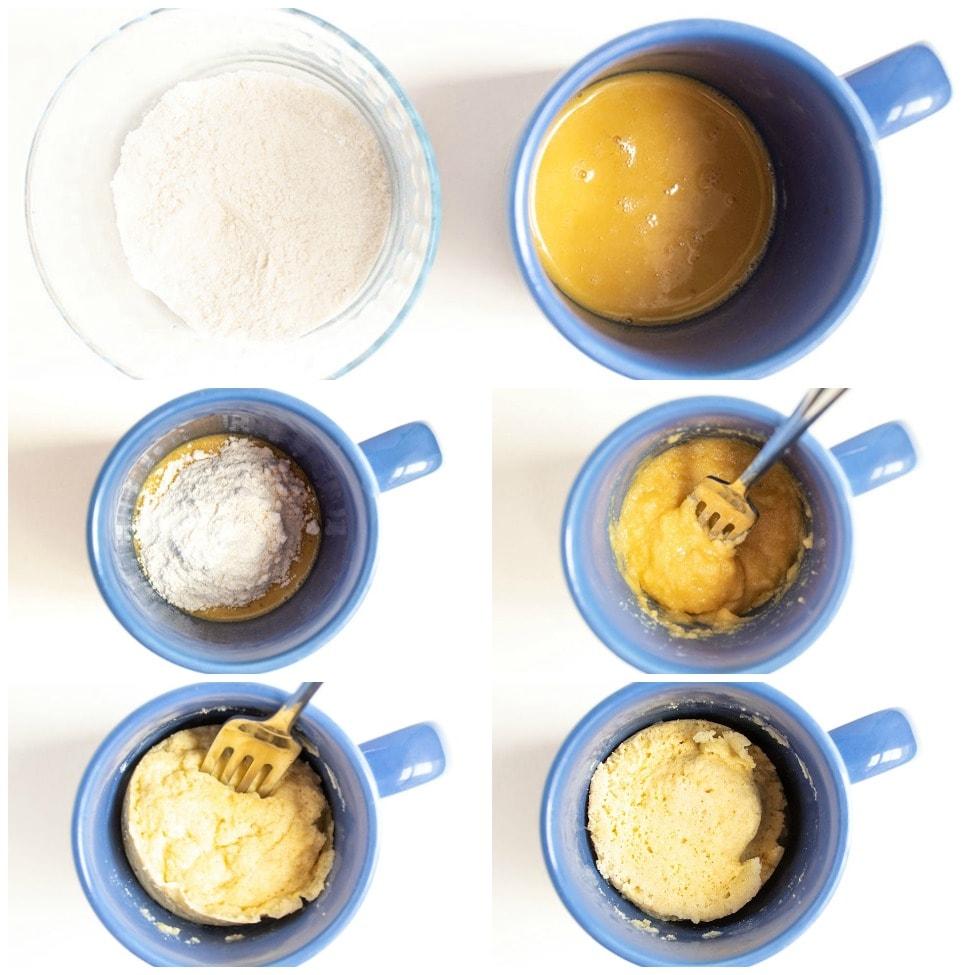overhead view of step-by-step mugs for keto pancake mug cake