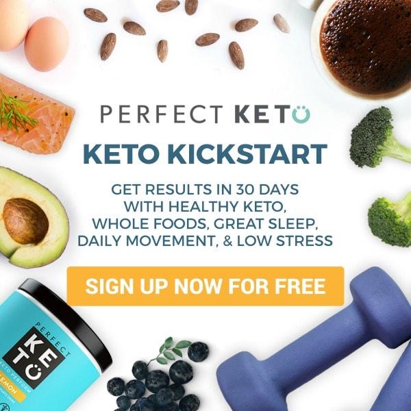 keto kickstart 30 day keto program surrounded by healthy food