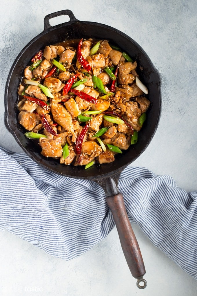 keto work lunch general tsos chicken in a pan