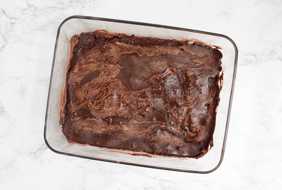 keto chocolate heaven dessert fully frozen in a pan and ready to serve