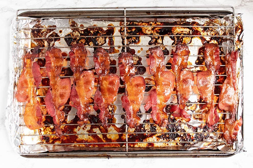 cooked keto candied bacon on top of a wire rack