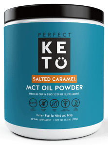 perfect keto salted caramel powder container stock image