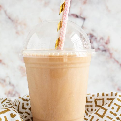 """keto frappuccino keto iced coffee in a plastic cup with two decorative straws glued """"srcset ="""" https://forgetsugarfriday.com/wp-content/uploads/2019/04/keto-frappuccino-copycat-main-500x500.jpg 500w, https://forgetsugarfriday.com/wp-content/uploads/2019/04/keto-frappuccino-copycat-main-150x150.jpg 150w """"sizes ="""" (maximum width: 200px) 100vw, 200px"""