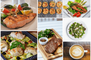 collage of keto diet meal plan options with a variety of low carb foods