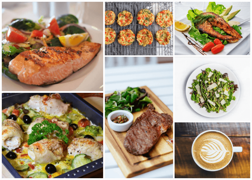 collage of keto diet plan options with a variety of low carb foods