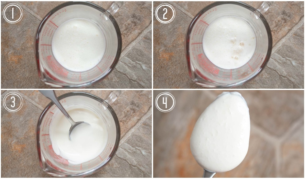 four panel images of how to make keto buttermilk for keto ranch dressing recipe