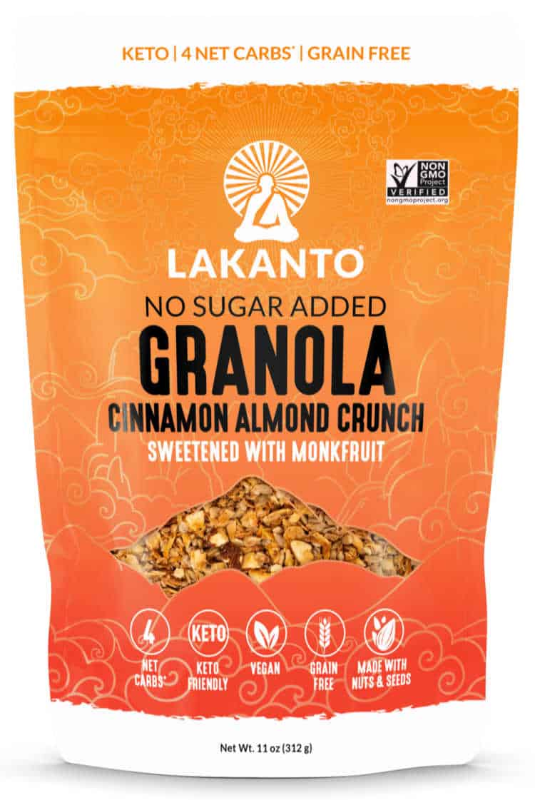 bag of lakanto cereal containing keto granola