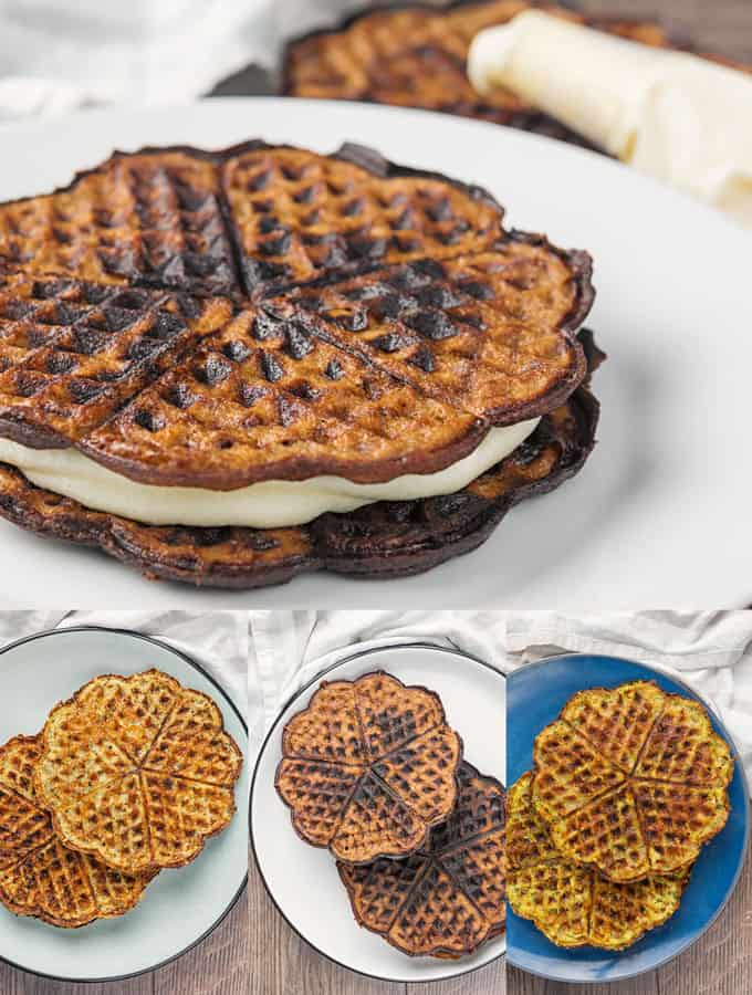 collage of keto chaffles on white plates in a variety of different flavors