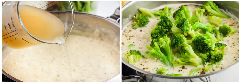 two side by side photos of pots containing keto chicken alfredo soup