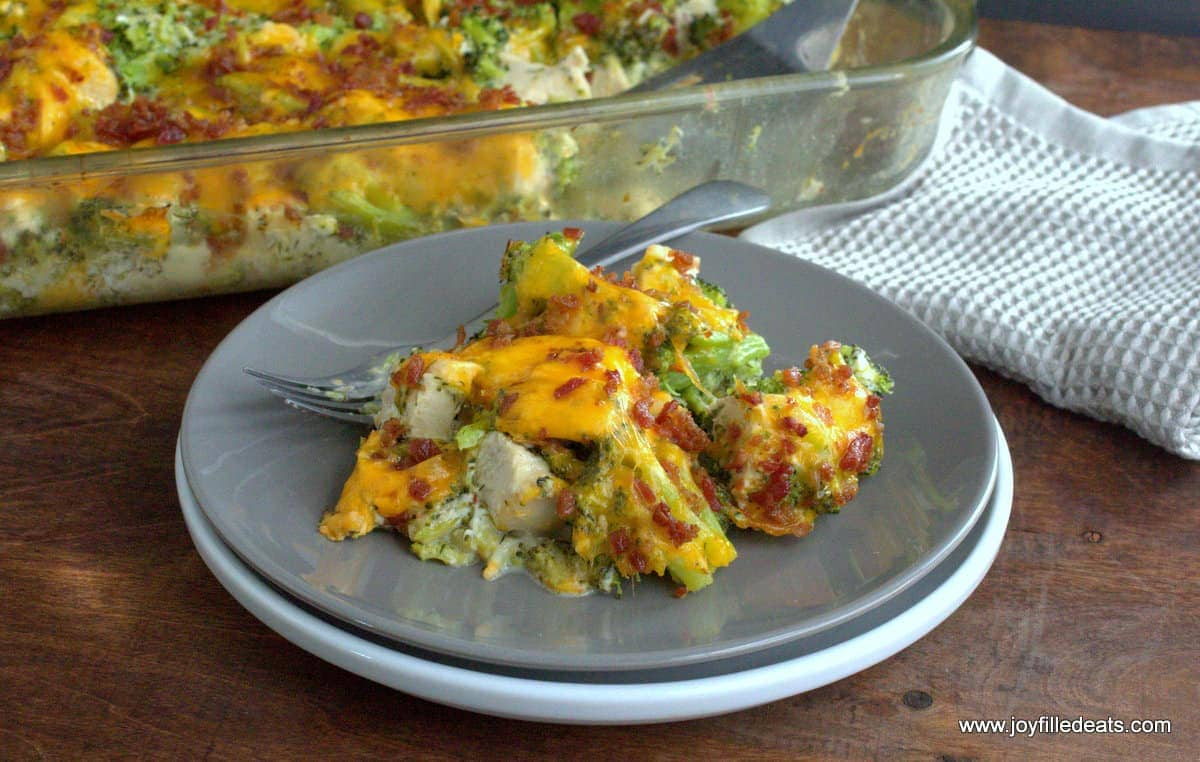 chicken casserole and broccoli with cheese