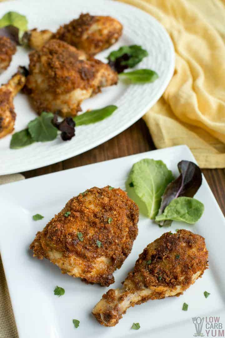 low carb fried chicken on a dish