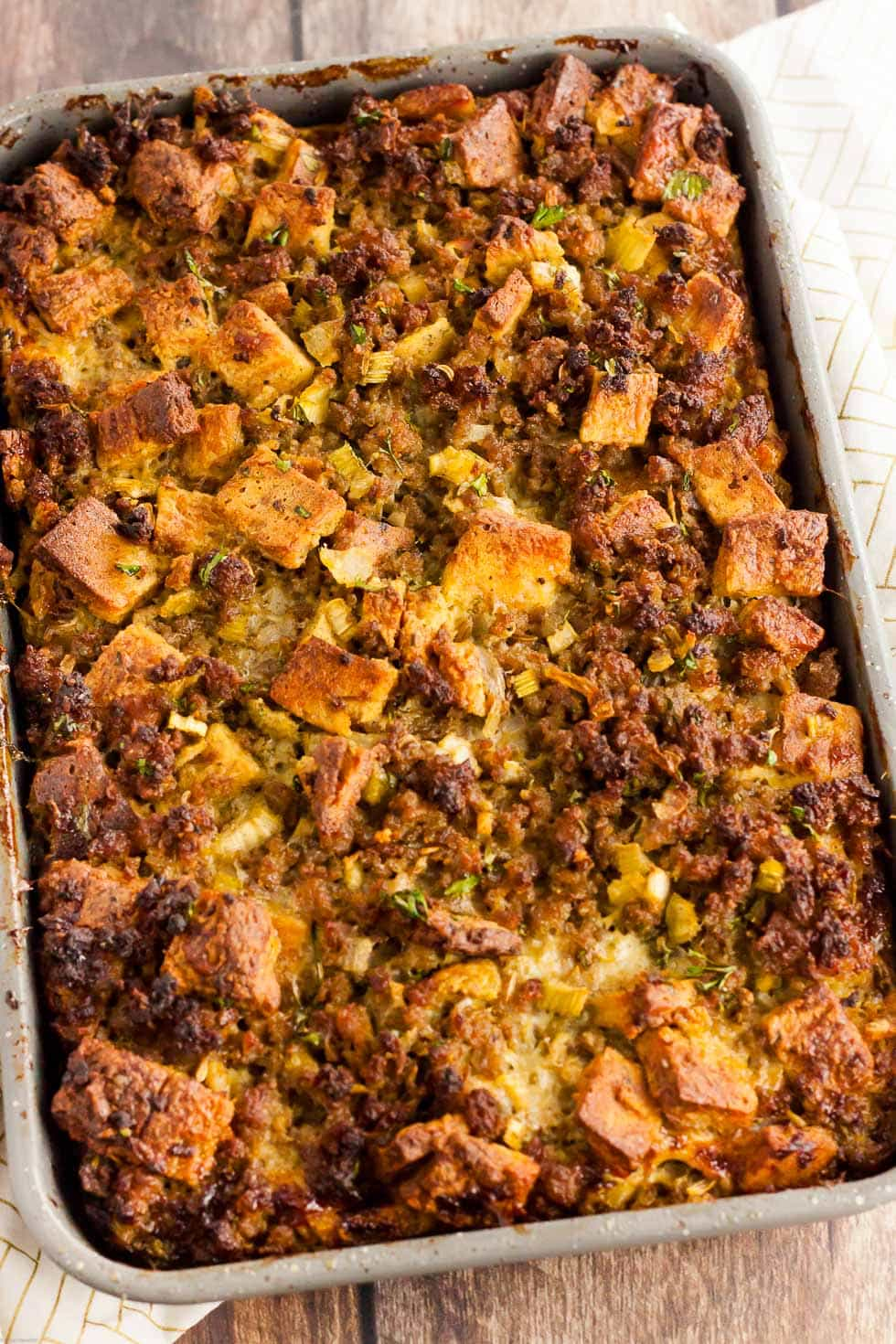 overhead view of cooked keto stuffing in casserole dish
