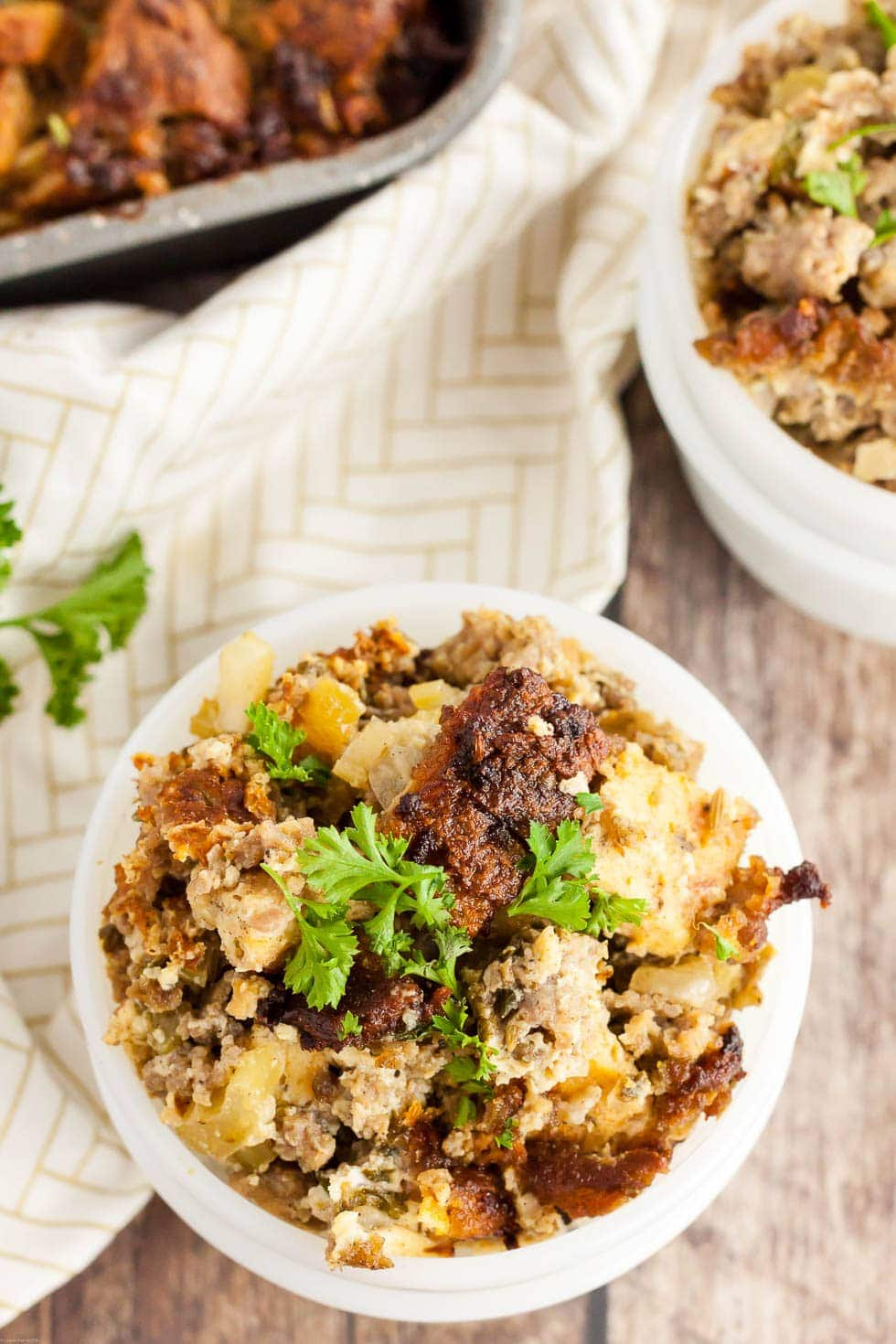 keto thanksgiving stuffing in a bowl