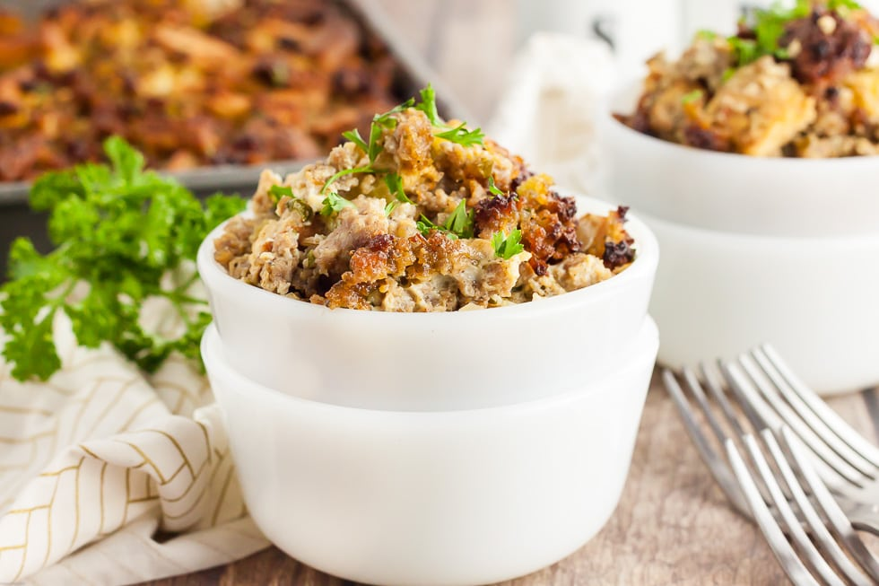 keto thanksgiving stuffing in two stacked white bowls