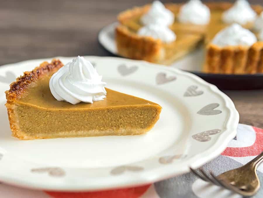 keto pumpkin pie slice on dish