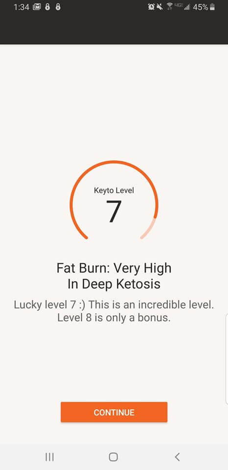 screen shot of keyto app showing ketosis level 7