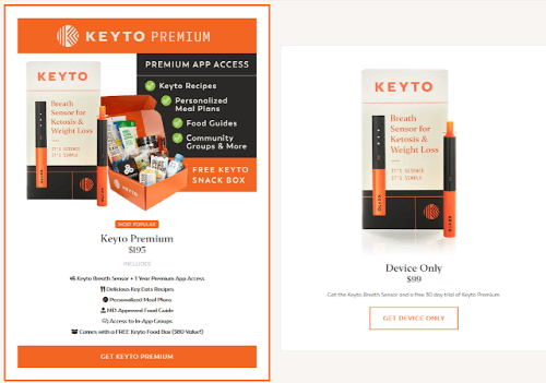 keyto coupon code options side by side showing the keyto device and keyto premium