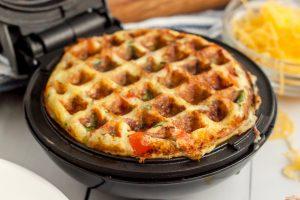 keto chaffle omelet in a dash mini waffle maker