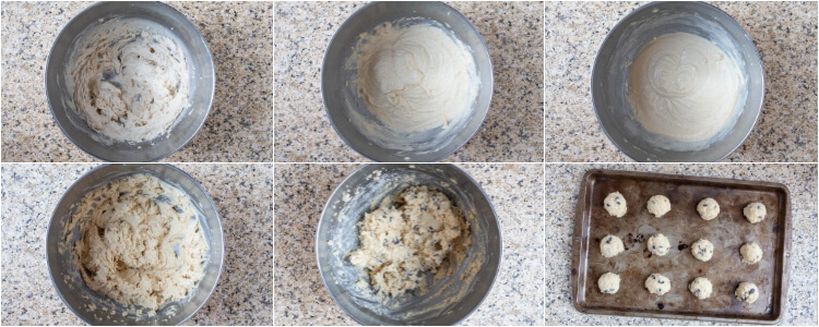 six overhead process shots showing how to make keto cookies with chocolate chips