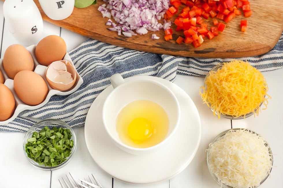 overhead view of ingredients used to make a keto omelet