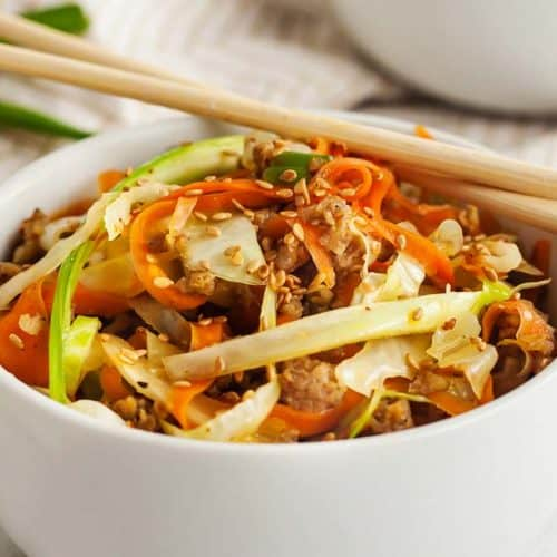 low carb egg roll in bowl with chopsticks