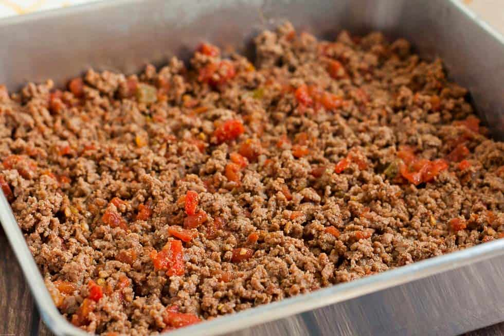 beef in casserole baking dish